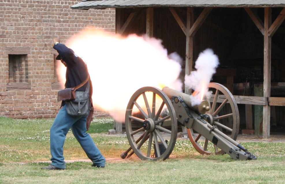 Old Fort Jackson cannon fire